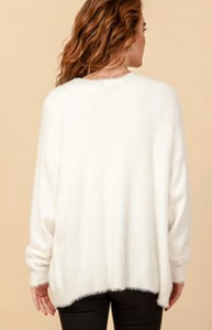 Cream Fuzzy Cardigan