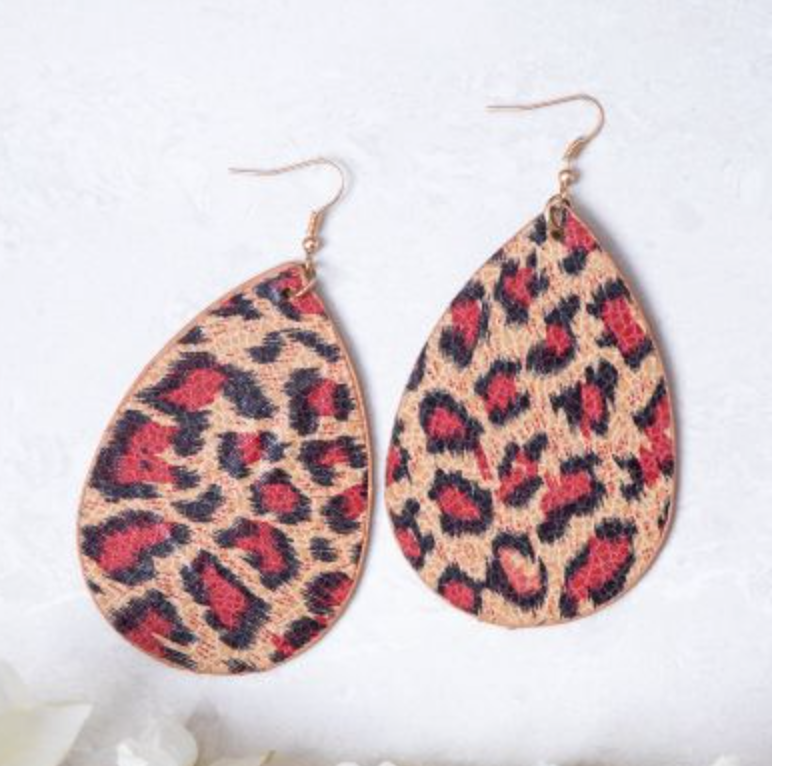 Red Leopard Earrings