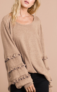 Taupe Bubble/Ruffle Sleeve Top