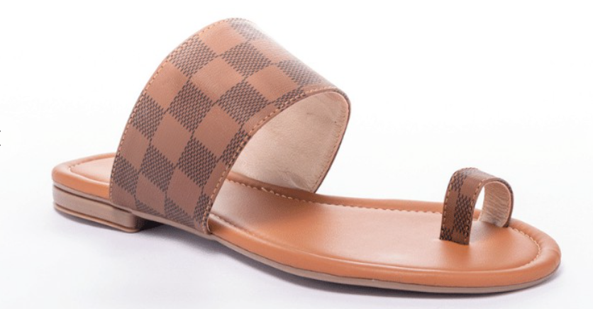 Brown Checker Pattern Sandals