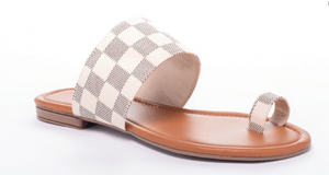 White/Nude Checker Pattern Sandals