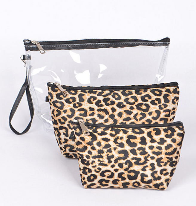 Clear & Leopard Print Clutch Set