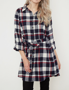 Navy/Red Plaid Dress