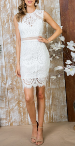 White Crochet Lace Sleeveless Dress