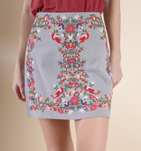 Cool Grey Embroidered Skirt