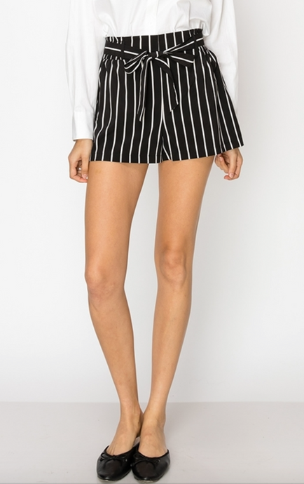Black/White Striped Shorts