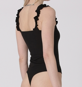 Black Ruffle Strap Body Suit