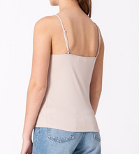 Taupe Lace Trim Strappy Top