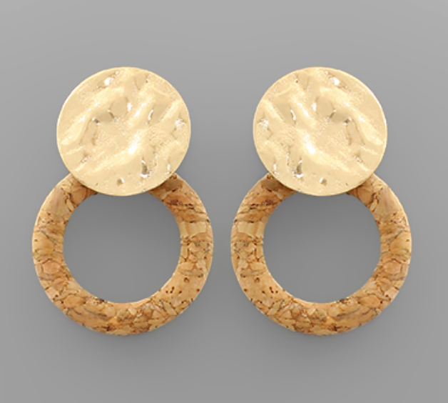 Cork Circle & Hammered Disc Earring