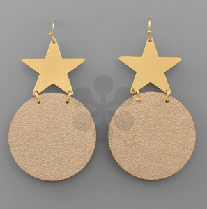 Leather Disc & Star Earrings