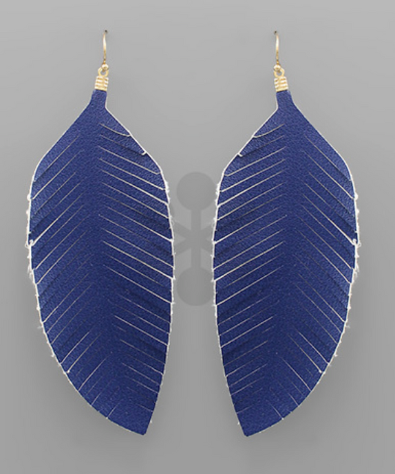 Royal Leather Feather Earrings