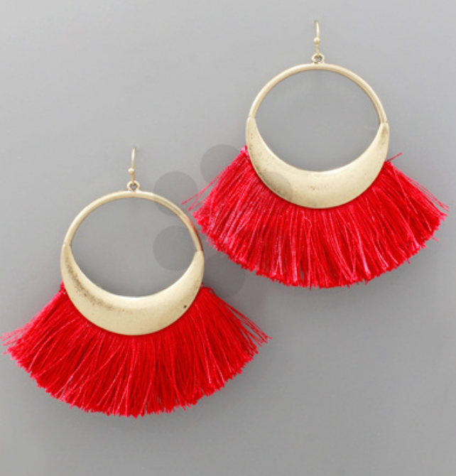 Red Fan Tassel Earrings