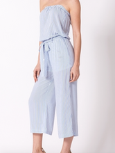 Blue/White Striped Strapless Jumpsuit