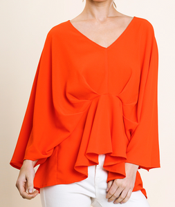 Orange Pintuck Top
