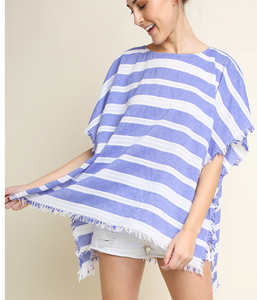 Royal Blue Striped Top