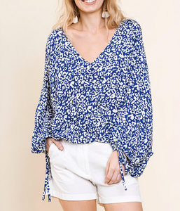 Blue Animal Print V Neck Top