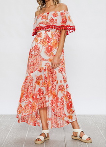 Off Shoulder Floral Print Wrap Maxi