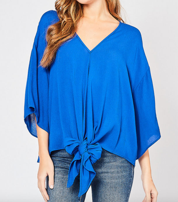 Royal Blue V Neck Top