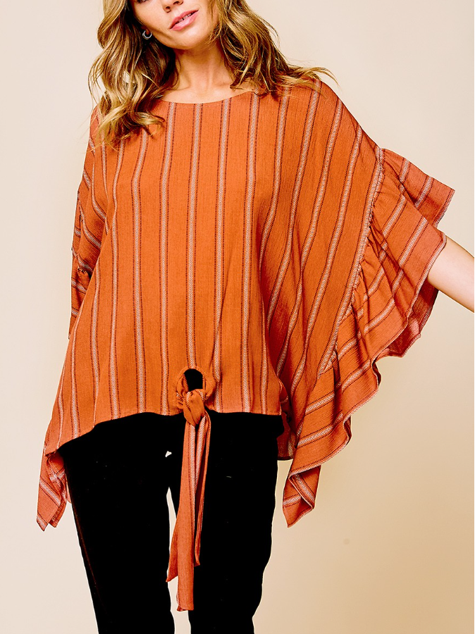 Rust Poncho Top