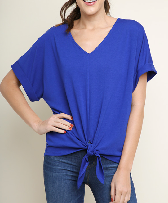 Royal Blue Waist Tie Top