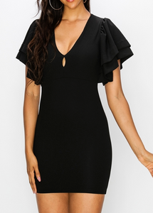 Black V Neck Pencil Dress