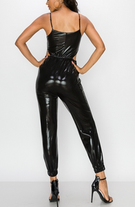 Black Metallic Jumpsuit