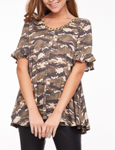 Camo Back Lace Up Top