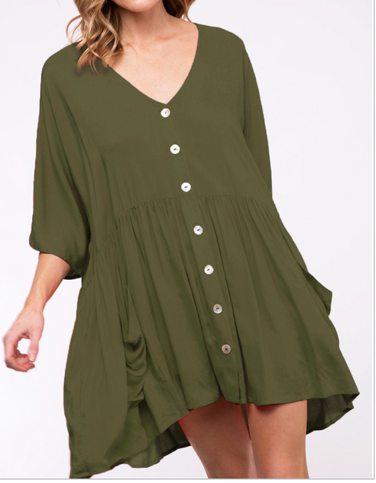 Olive Button Down Loose Fit Tunic