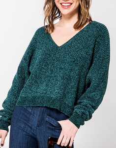 Hunter Green V Neck Sweater