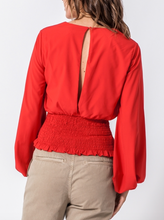 Red Surplice Blouse