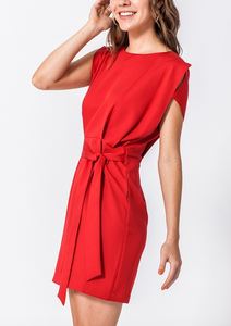 Red Dress With Waist Tie