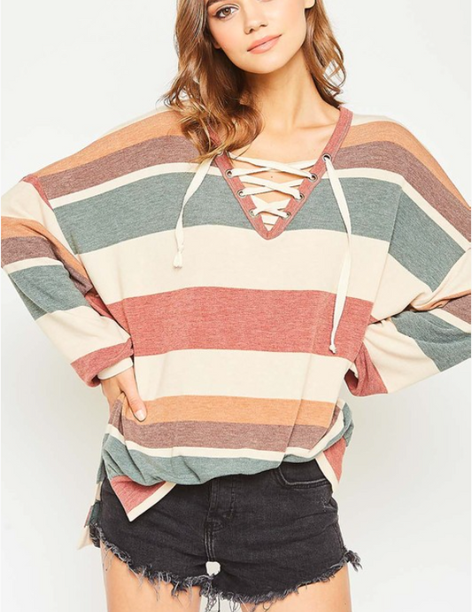 Multi Striped Lace Up Top