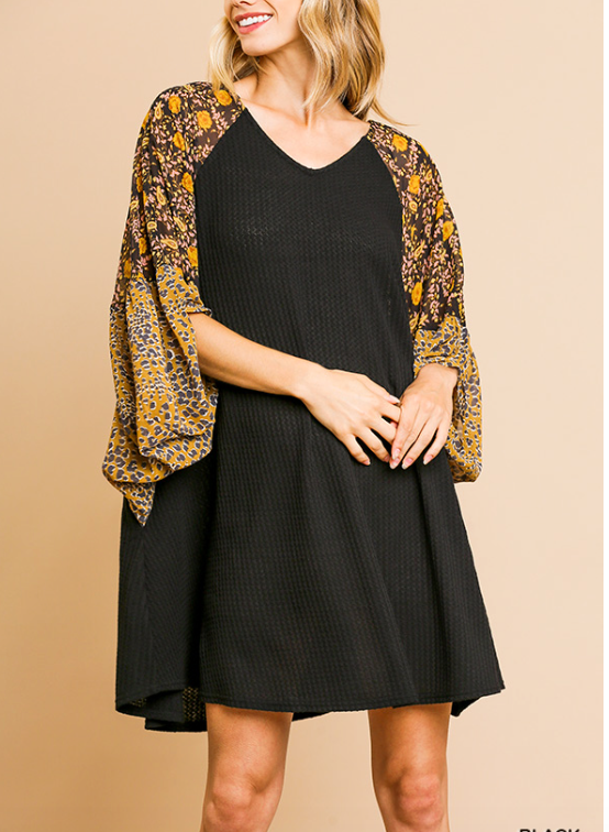 Black Waffle Knit Dress