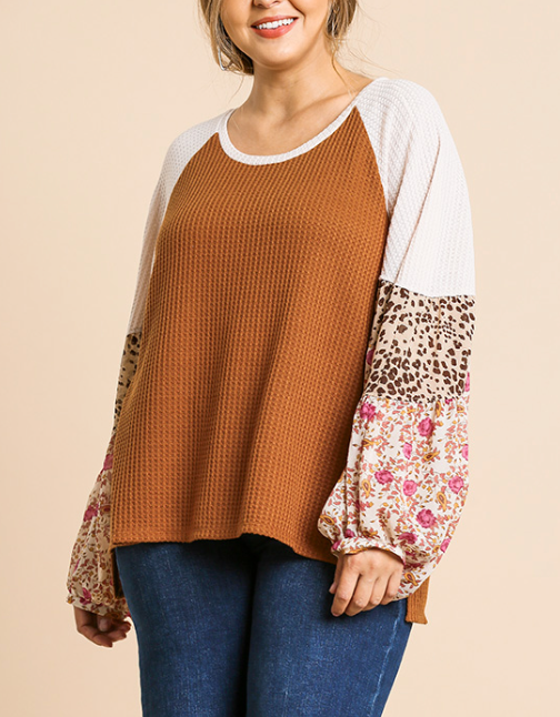 Camel Floral/Animal Mixed Sleeve Top
