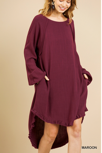 Maroon High/Low Dress
