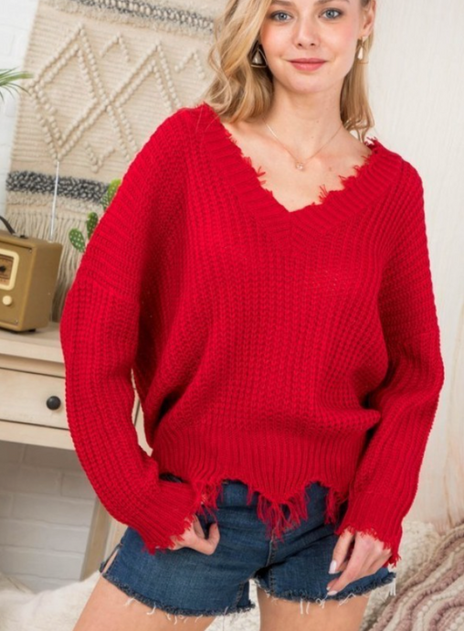 Red V Neck Frayed Sweater