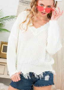 White V Neck Frayed Sweater