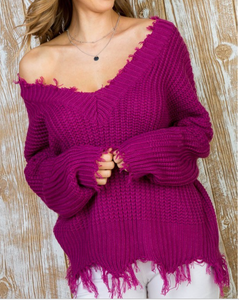 Magenta Frayed V Neck Sweater
