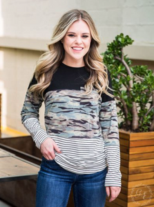 Stripe & Camo Top