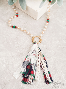 Flannel Fabric Tassel Necklace