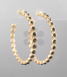 Bead Pave Open Hoops