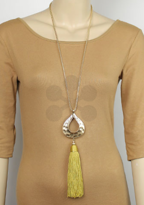 Mustard Tassel Necklace