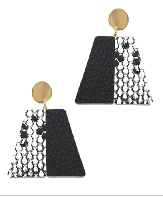Snake Leather Trapezoid Earrings