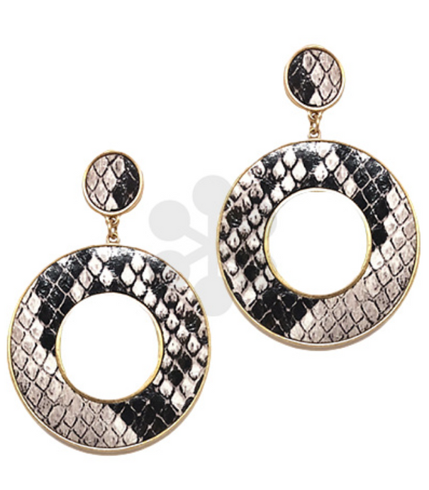Snake Leather Circle Earrings
