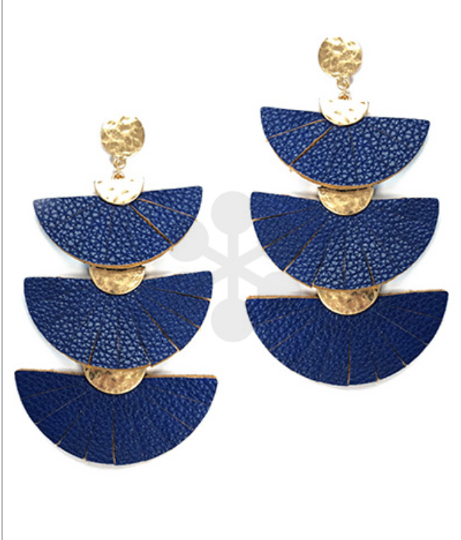 Royal Leather Fan Earrings