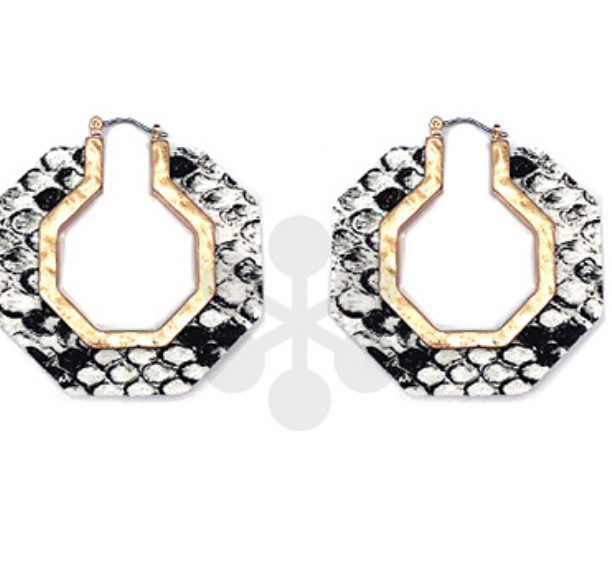 Octagon Snake Print Earrings