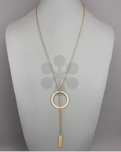 Gold Circle/Rectangle Necklace