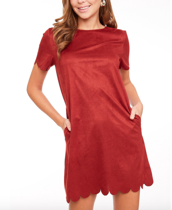 Rust Scalloped Dress