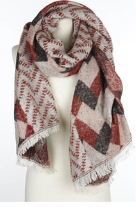 Burgundy Multi Pattern Shawl