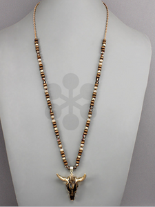 Brown/Gold Steer Head Necklace